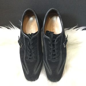TOD'S Black Suede Lace Up Side Buckle Shoes